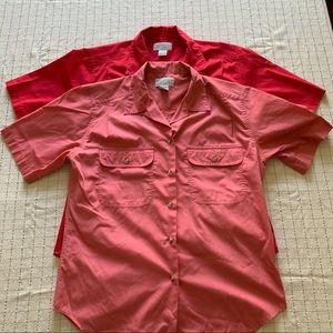 Lands End Bundle of 2 Cotton Button Up Shirts, 8 R
